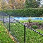 We built this 4' high black vinyl chain link fence the day after the pool was installed. We installed an inexpensive wire fence behind the hedge where no one can see it.
