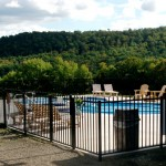 "Aluminum is a great choice for swimming pools.  This is a 52"" high Jerith ""Bravo"" that we installed in 2007 at the August Lodge near Cooperstown."